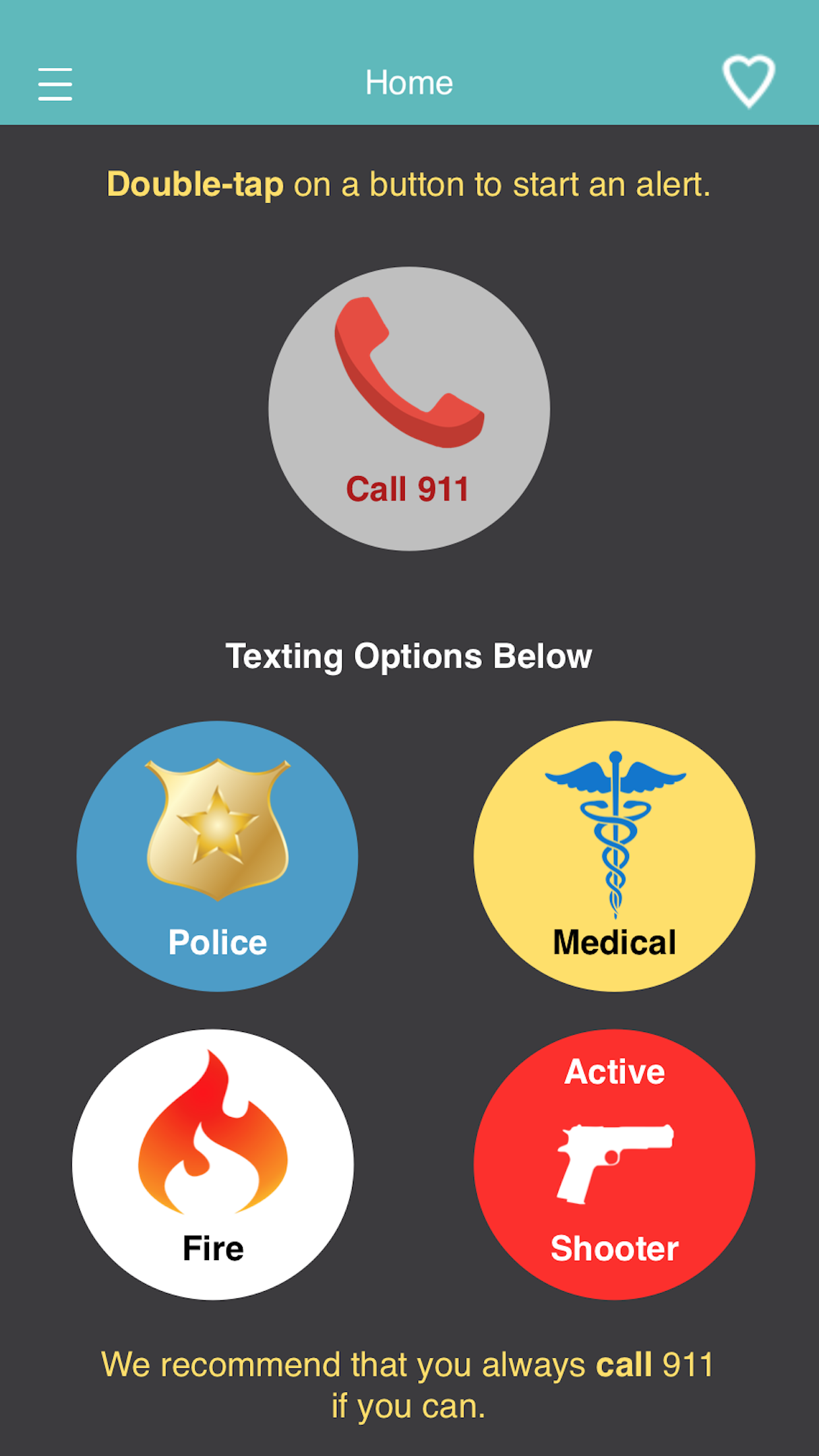 Home screen of eMERGE 911 with 5 emergency buttons (Call 911, Police, Medical, Fire, and Active Shooter.
